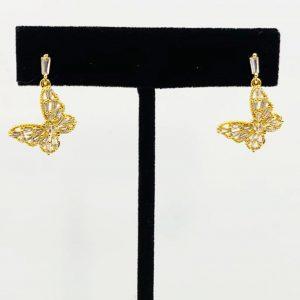 Gold Butterfly Drop Earrings, Gold Butterfly Drop Earrings on Product Image on Earring Stand
