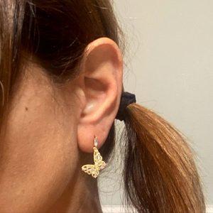 Gold Butterfly Drop Earrings, Gold Butterfly Drop Earrings Product Image on Model