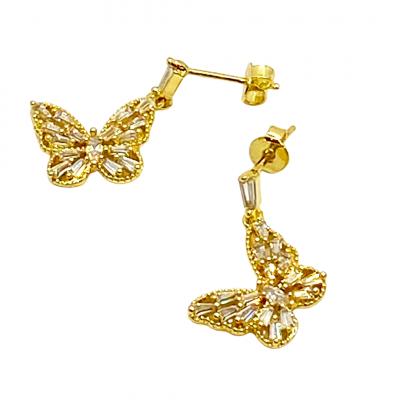 Gold Butterfly Drop Earrings, Gold Butterfly Drop Earrings Product Image