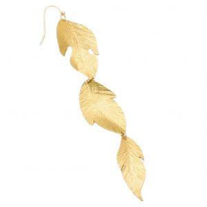 Brushed Gold Leaf Dangle Earring